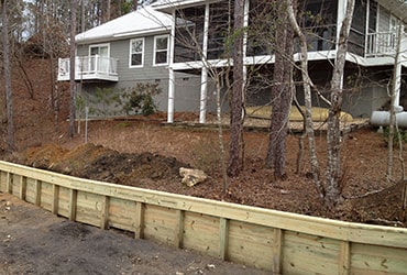 retaining wall around lake