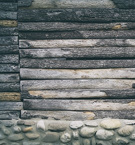 wall made of rock and wood